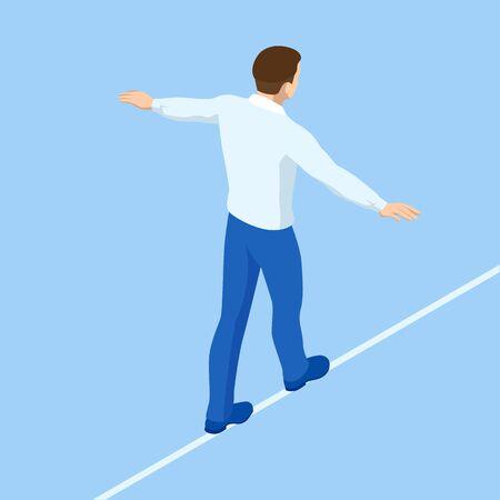 Isometric businessman tightrope walker is on the rope. Risk challenge in business, business risk, conquering adversity problems solution Ilustração
