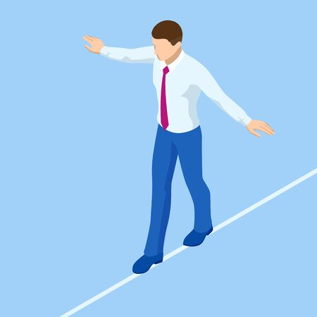 Isometric businessman tightrope walker is on the rope. Risk challenge in business, business risk, conquering adversity problems solution.