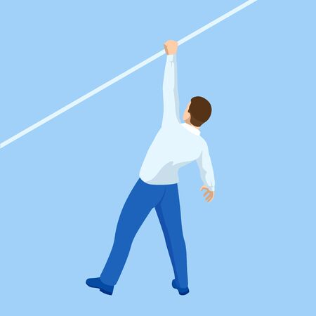 Isometric businessman tightrope walker is on the rope. Risk challenge in business, business risk, conquering adversity problems solution