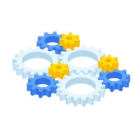 Isometric ste of gears and cogs isolated on white. Eight gear sign icon on background