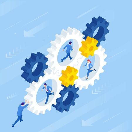 Empresarios isométricos en rueda dentada. Negocio de trabajo duro, motivación y concepto de éxito. Ilustración de vector