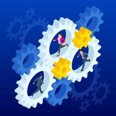 Isometric Businessmen running in gears wheels. The business of hard work, motivation and success concept
