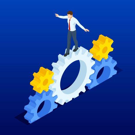 Izometryczne biznesmeni w koła zębate. Biznes ciężkiej pracy, motywacji i koncepcji sukcesu.