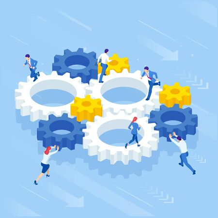 Isometric Businessmen running in gears wheels. The business of hard work, motivation and success concept. Foto de archivo - 138470778