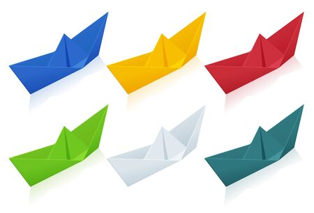Isometric colorize set of Origami Paper Boats on white background. 向量圖像