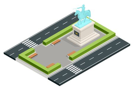 Isometric monument in the city park, bust of the commander. Historical and cultural attraction. History of war. 일러스트