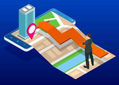 Plan de ville isométrique avec application mobile de navigation GPS, navigation itinérante, navigation urbaine interactive. Carte de navigation de la ville avec épingles ou carte gps, paysage urbain