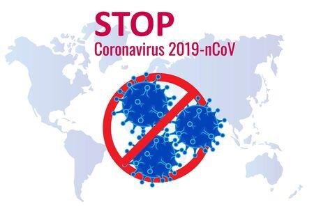Corona-uitbraak. Coronavirus 2019-nC0V-uitbraak, reiswaarschuwingsconcept. Het virus valt de luchtwegen aan, een pandemisch medisch gezondheidsrisico.