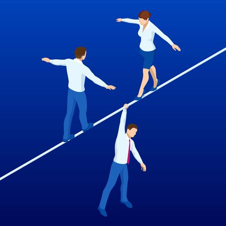 Isometric businessmen and woman tightrope walker is on the rope.