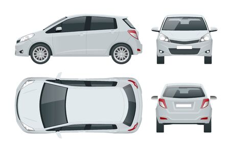 Subcompact hatchback car. Compact Hybrid Vehicle.