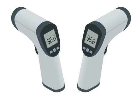 Isometrisches medizinisches digitales berührungsloses Infrarot-Thermometer. Es misst berührungslos die Umgebungs- und Körpertemperatur mit farbigen Warnsymbolen