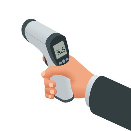 Isometric Medical Digital Non-Contact Infrared Thermometer. It measures the ambient and body temperature without contact with colored warning symbols
