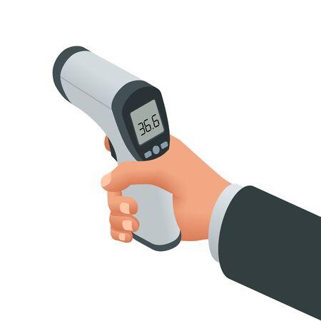 Izometryczny medyczny cyfrowy bezdotykowy termometr na podczerwień. Mierzy temperaturę otoczenia i ciała bez kontaktu z kolorowymi symbolami ostrzegawczymi