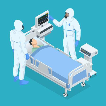 Concetto isometrico della stanza della terapia intensiva in un ospedale con attrezzature mediche e uomo ricoverato a letto mentre i medici indossano una tuta protettiva