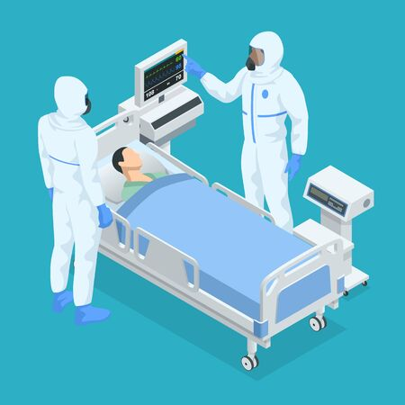 Isometric concept of ICU room in a hospital with medical equipment and hospitalized man lying in bed while doctors in a protective suit