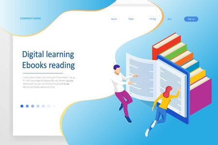 Isometric concept for Digital Reading, E-classroom Textbook, Modern Education, E-learning, Online Training and Course, Audio Tutorial, Distance Education, Ebook and Students.