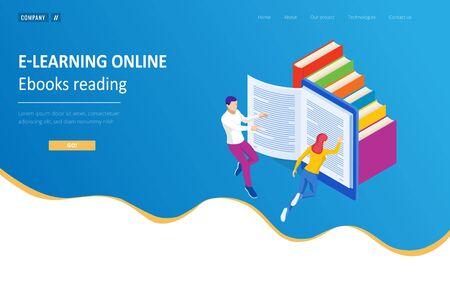 Isometric concept for Digital Reading Ilustração Vetorial