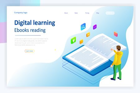 Isometric concept for Digital Reading, E-classroom Textbook, Modern Education, E-learning, Online Training and Course, Audio Tutorial, Distance Education, Ebook and Students. Banque d'images - 139447442