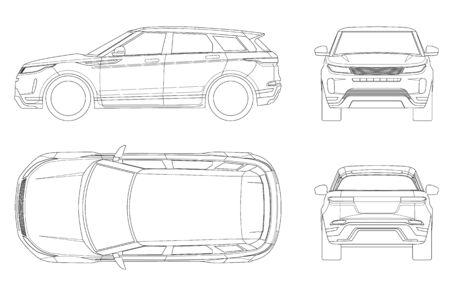 Plantilla de vector de coche sobre fondo blanco. Crossover compacto, SUV, camioneta familiar de 5 puertas en contorno. Vector de plantilla aislado. Vista frontal, posterior, lateral, superior.