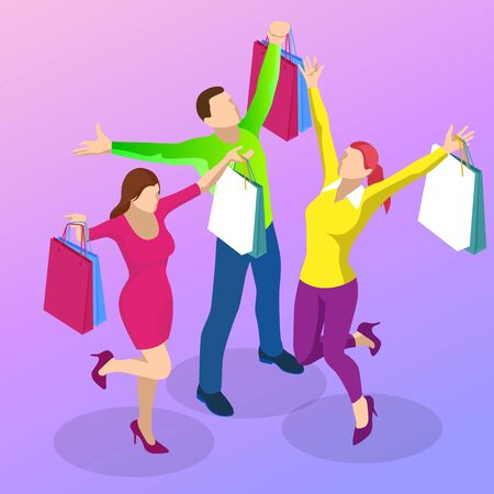 Weekend Sale and Discount Offers. Online shopping. Seasonal Sale with Discount Coupons. Isometric Smart phone online shopping concept. Online store, shopping cart icon.
