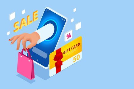 Weekend Sale and Discount Offers. Online shopping. Seasonal Sale with Discount Coupons. Isometric Smart phone online shopping concept. Online store, shopping cart icon. Ilustrace