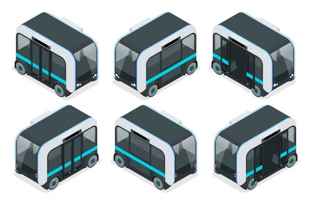 Isometric Unmanned Shuttle Bus. Automated self-driving vehicle system in city.