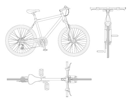 Flat outline cycling side view, back and top view isolated on white.