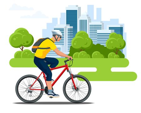 Cyclist side view in a helmet on a city