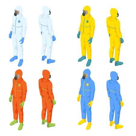 Isometric people in medical bio suits. Biological hazard. Epidemic of the Chinese coronavirus