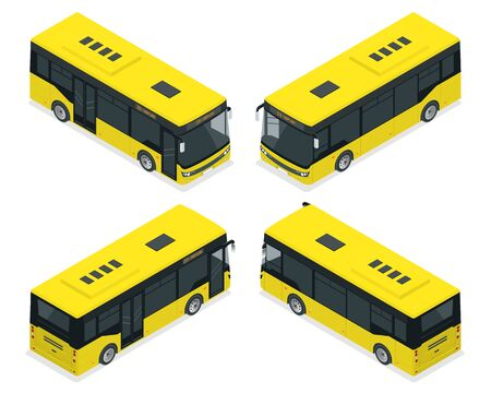 Isometric Passenger City Bus for branding identity and advertising design on transport. Blank City Bus template isolated on white background.