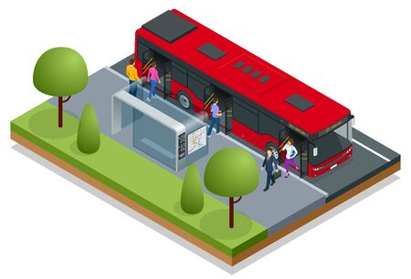 Isometric red City Bus at a bus stop. People get in and out of the bus. Public transport with driver and people Ilustrace