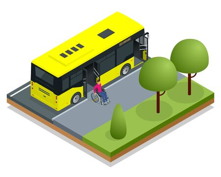 Isometric yellow City Bus at a bus stop. Man in a wheelchair leaves the bus. Access ramp for disabled persons and babies in a bus. Driver helping Man enter into the transport via wheelchair ramp