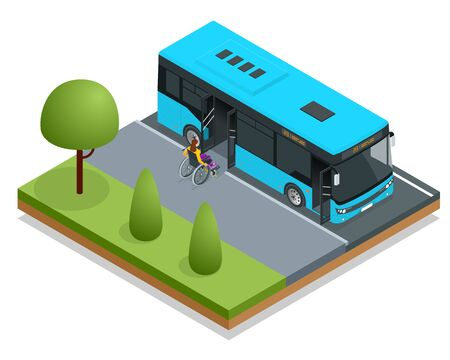 Isometric blue City Bus at a bus stop. People get in and out of the bus. Public transport with driver and people