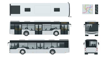 Passenger City Bus for branding identity and advertising design on transport. Blank City Bus side view, front, rear and from above. Blank City Bus template isolated on white background. Vecteurs