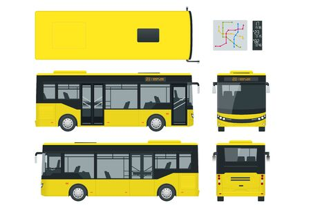 Passenger City Bus for branding identity and advertising design on transport. Blank City Bus side view, front, rear and from above. Blank City Bus template isolated on white background. Illustration