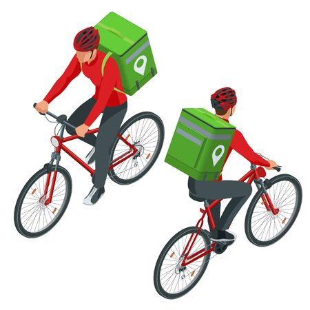 Isometric bicycle courier, Express delivery service. Courier on bicycle with parcel box on the back delivering food In city. Ecological fast delivery. City Food delivery service. Online ordering. Vecteurs