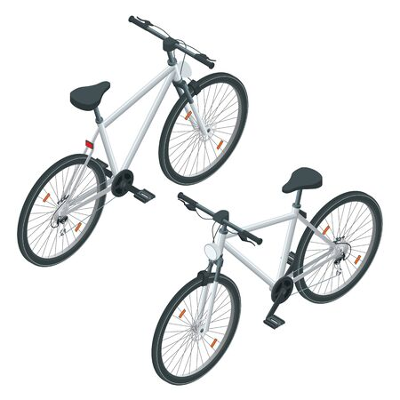 Isometric new bicycle isolated on a white background. Road bike