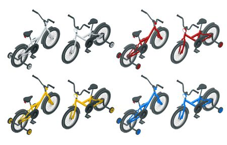 Isolated icon of isometric kid's bicycle on white background