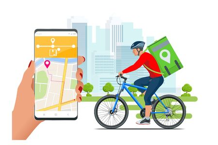 Bicycle courier, Express delivery service. Courier on bicycle with parcel box on the back delivering food In city. Ecological fast delivery. City Food delivery service. Online ordering