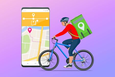 Bicycle courier, Express delivery service. Courier on bicycle with parcel box on the back delivering food In city. Ecological fast delivery. City Food delivery service. Online ordering. Vettoriali