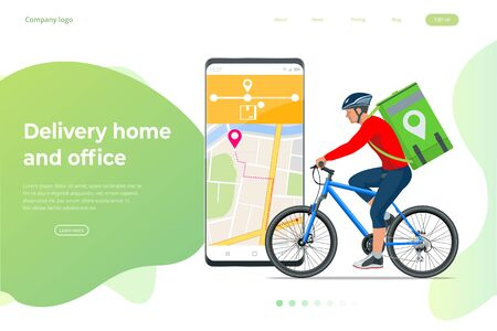 Bicycle courier, Express delivery service. Courier on bicycle with parcel box on the back delivering food In city. Ecological fast delivery. City Food delivery service. Online ordering. Ilustración de vector