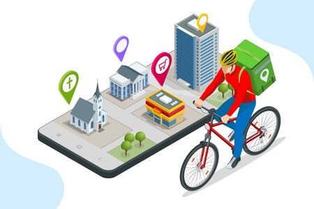 Isometric bicycle courier, Express delivery service. Courier on bicycle with parcel box on the back delivering food In city.