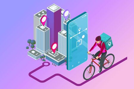 Isometric bicycle courier, Express delivery service. Courier on bicycle with parcel box on the back delivering food In city. Ecological fast delivery. City Food delivery service. Online ordering