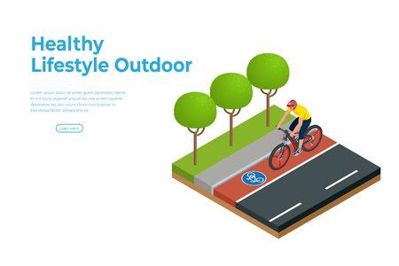 Isometric man on bicycle ride on the bicycle lane.