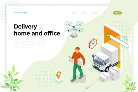 Isometric Logistics and Delivery concept. Delivery home and office. Tracking delivery service online.