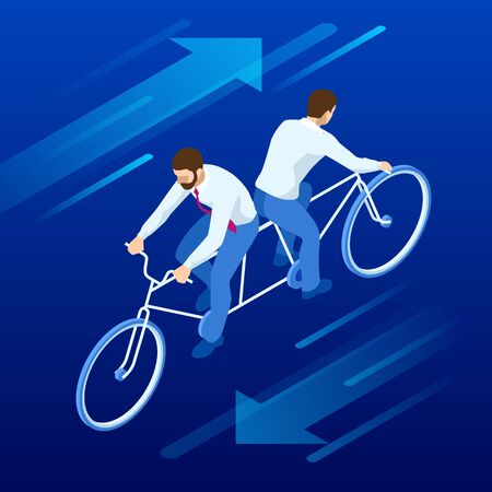 Isometric competition Businessman on bicycle tandem ride in different directions.
