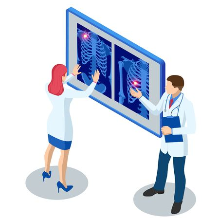 Isometric X-ray machine for scanning human body. Doctor checking examining chest x-ray film of patient. Roentgen of chest bone. Medical examination for surgery