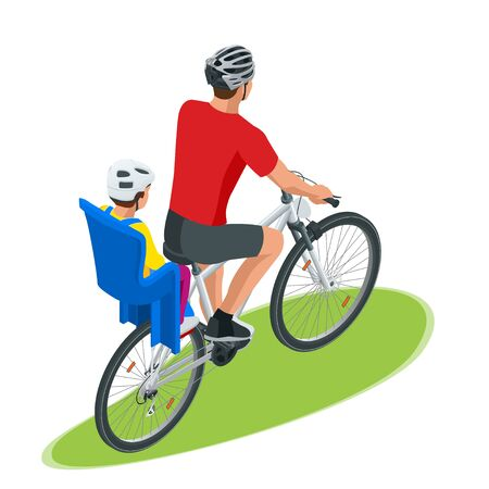 Isometric family biking. Young father safety helmet with toddler strapped child seat his bicycle. Bicycle with plastic child seat