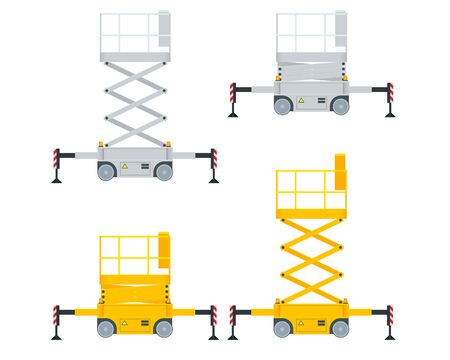 Yellow Engine Powered Scissor Lift isolated on white background. Vector illustration in a flat style. Modern Truck-mounted. Illustration