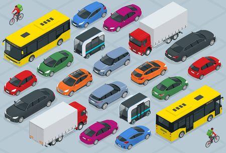 Plat 3d isométrique jeu d'icônes de voiture de transport urbain de haute qualité. Bus, coursier à vélo, berline, fourgonnette, camion cargo, tout-terrain, vélo, mini et voitures de sport. Véhicule public urbain et de fret. Vecteurs